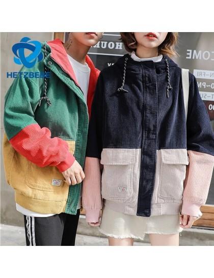 Sonbahar Bay&Bayan Blok Patchwork Kadife Kapşonlu Ceket