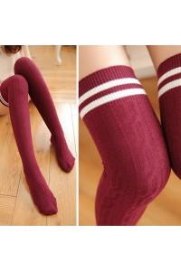 Uzun Kalın Diz Üstü Çorap 60 cm Bordo