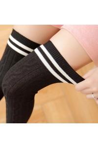 Uzun Kalın Diz Üstü Çorap 60 cm Siyah