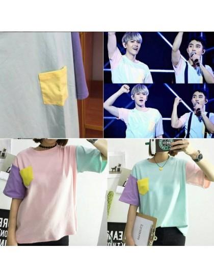 Harajuku Stil Üç Renk Tişört
